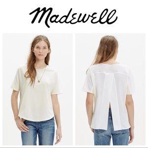 Madewell off white split back tee shirt